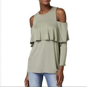 NWT Kensie Open Shoulder Ruffled  Top XS
